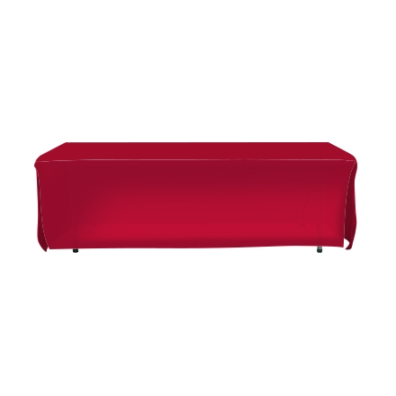 8' Open Corner Table Covers - Red - 4 Sided