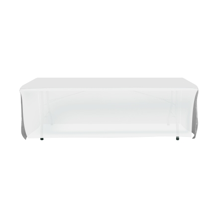 8' Open Corner Table Covers - White
