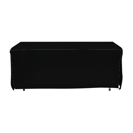 6' Open Corner Table Covers - Black - 4 Sided