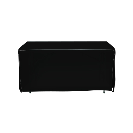4' Open Corner Table Covers - Black - 4 Sided