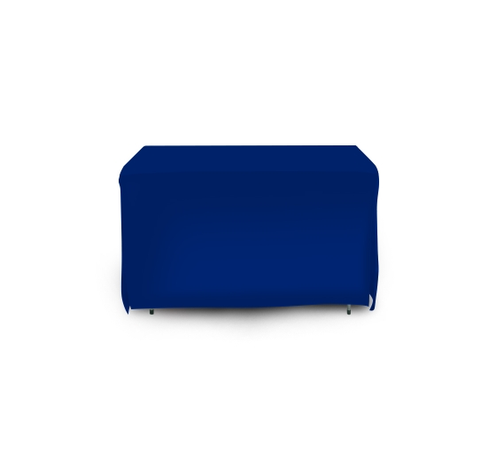 4' Open Corner Table Covers - Blue - 4 Sided