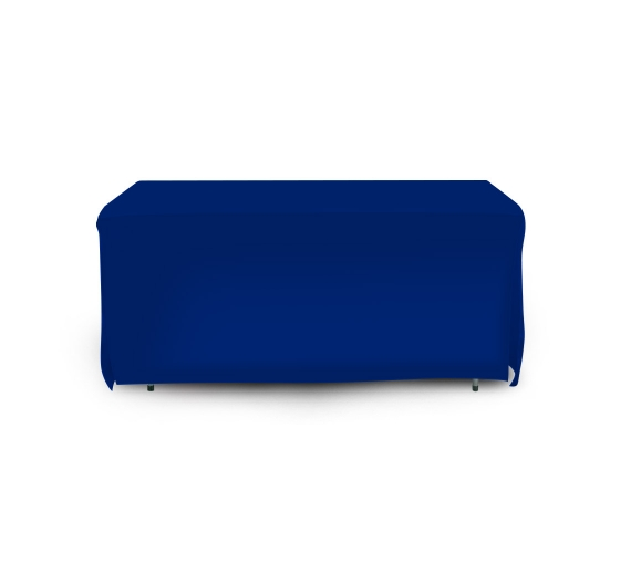 6' Open Corner Table Covers - Blue - 4 Sided