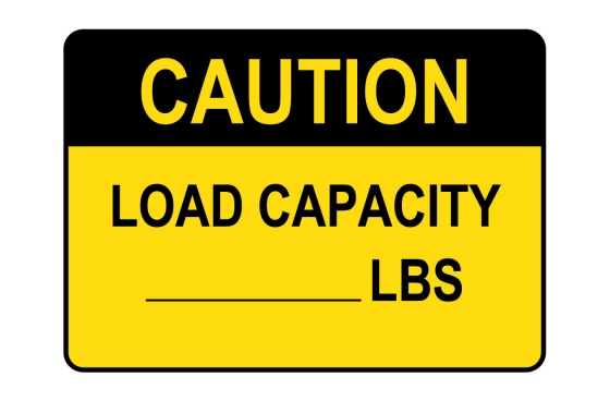 OSHA CAUTION Custom Load Limit - Lbs. Sign