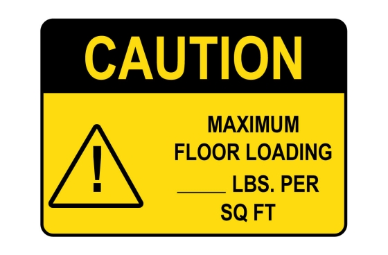 OSHA CAUTION Maximum Floor Loading Lbs Per Sq Ft Sign