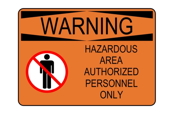 OSHA WARNING Hazardous Area Authorized Personnel Only Sign