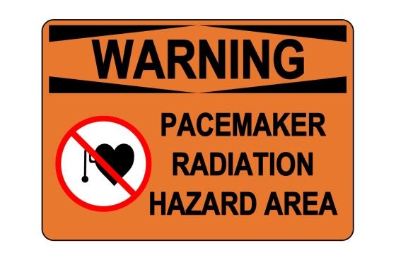 OSHA WARNING Pacemaker Radiation Hazard Area Sign