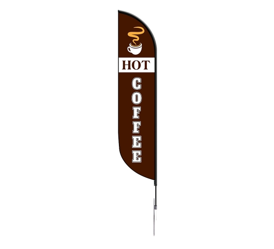Pre-Printed Fresh Hot Coffee Feather Flag