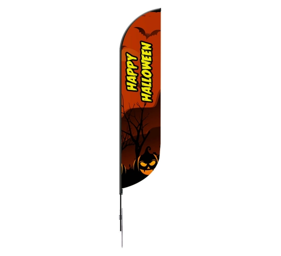 Pre-Printed Happy Halloween Feather Flag - Black