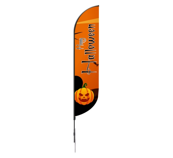 Pre-Printed Happy Halloween Feather Flag - Orange