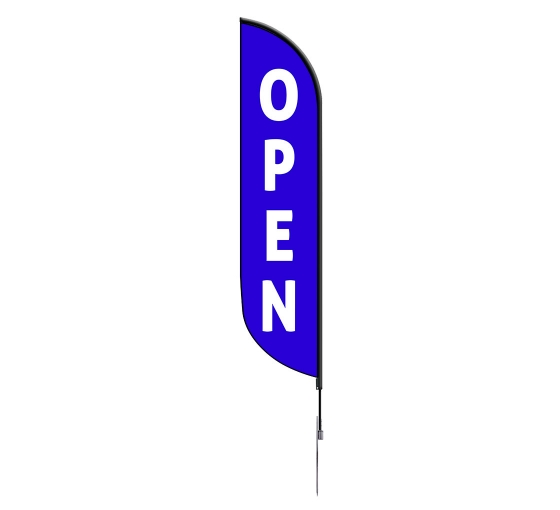 Pre-Printed Open Feather Flag - Blue