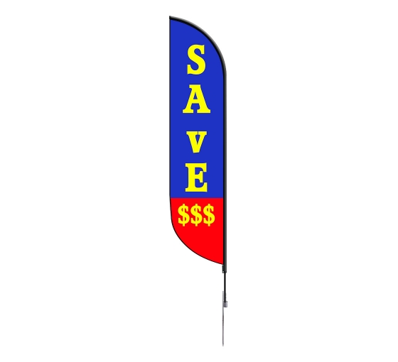 Pre-Printed Save Feather Flag - Blue