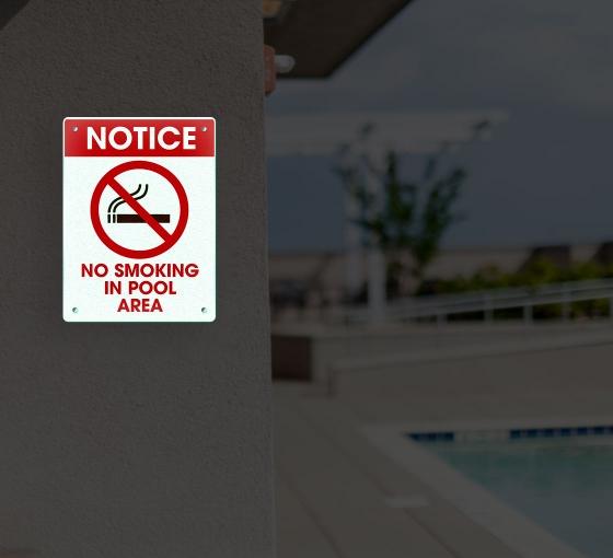 Reflective No Smoking Pool Signs
