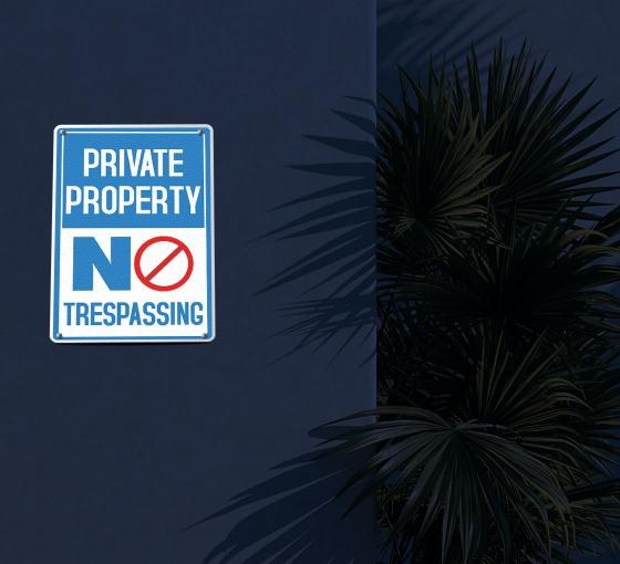Reflective No Trespassing Patio Signs