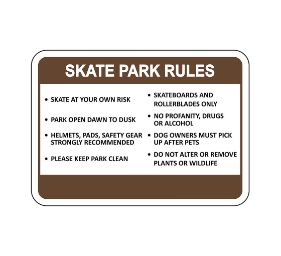 Skate Park Rules Skate At Your Own Risk Sign
