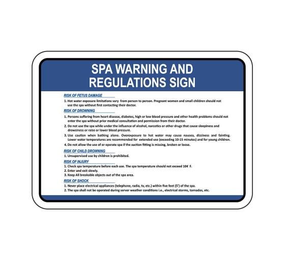 Spa Warning And Regulations Sign