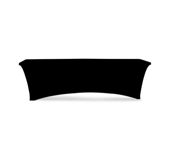8' Stretch Table Covers - Black - Zipper Back