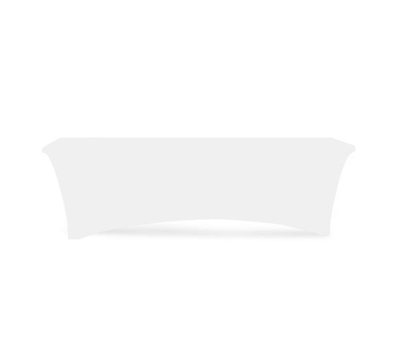 8' Stretch Table Covers - White - 4 Sided