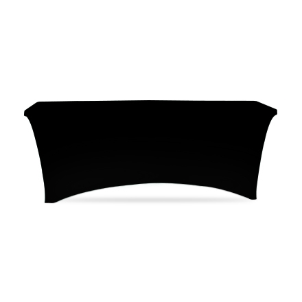 6' Stretch Table Covers - Black - Zipper Back
