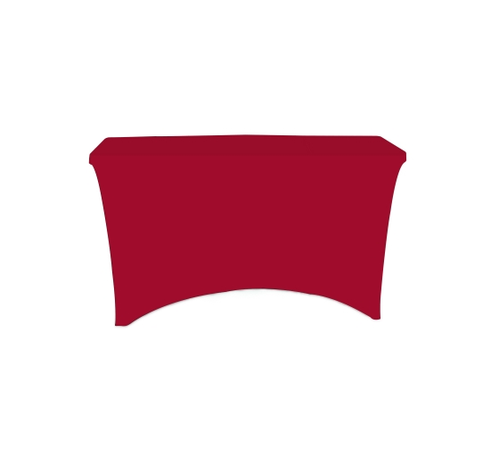 4' Stretch Table Covers - Red - 4 Sided