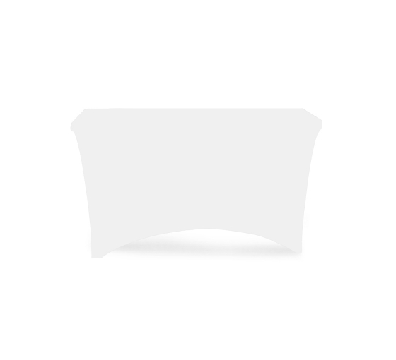4' Stretch Table Covers - White - Zipper Back
