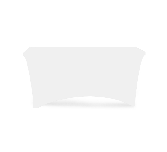 6' Stretch Table Covers - White - Zipper Back