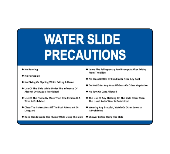 Water Slide Precautions Sign