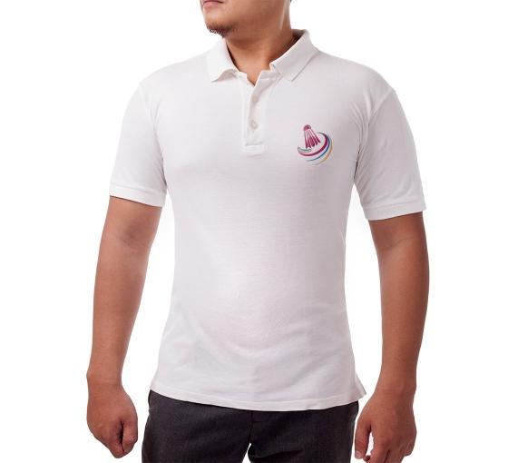 White Cotton Polo Shirt - Embroidered